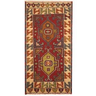Herat Oriental Indo Hand-knotted Tribal Kazak Wool Rug (2'1 x 4')