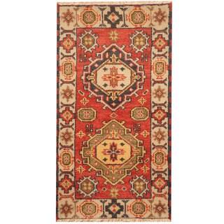 Herat Oriental Indo Hand-knotted Tribal Kazak Wool Rug (2'2 x 4')