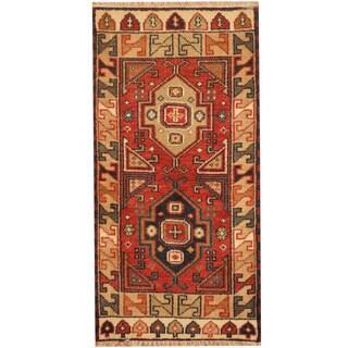 Herat Oriental Indo Hand-knotted Tribal Kazak Wool Rug (2'2 x 4'2)