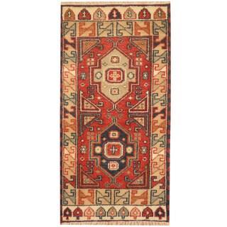 Herat Oriental Indo Hand-knotted Tribal Kazak Wool Rug (2'1 x 4'1)