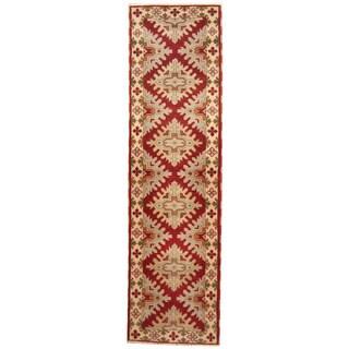Herat Oriental Indo Hand-knotted Tribal Kazak Wool Runner (2'10 x 10'1)