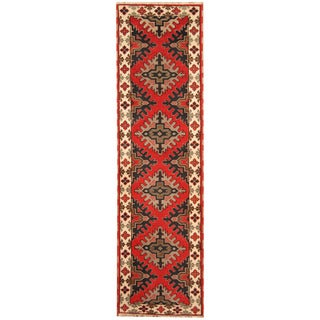 Herat Oriental Indo Hand-knotted Tribal Kazak Wool Runner (2'10 x 10')