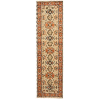 Herat Oriental Indo Hand-knotted Tribal Kazak Wool Runner (3' x 10'3)