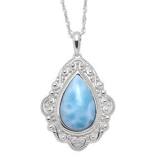 De Buman Sterling Silver Natural Larimar Gemstone Pendant Necklace (18-inch Chain)