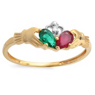 Elora 10k Yellow Gold 5/8ct TGW Multi-gemstone Promise Irish Love Band Claddagh Ring (I-J, I1-I2)