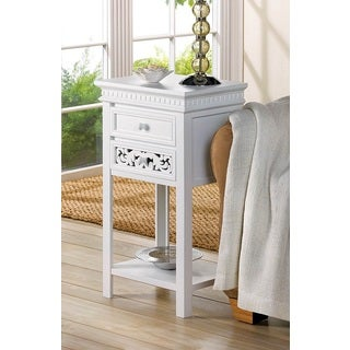 Peony White Wooden Accent Table