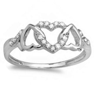 10k White Gold 1/6ct TDW Diamond Promise Split Shank Engagement Ring (I-J, I2-I3)