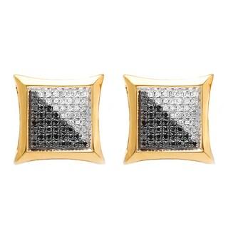 Elora 10k Yellow Gold 1/3ct TDW White and Black Diamond Micro Pave Kite Stud Earrings (I-J, I2-I3)