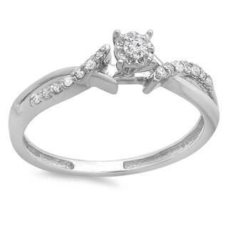 Elora 14k White Gold 1/6ct TDW Diamond Crossover Split Shank Bridal Ring (I-J, I2-I3)