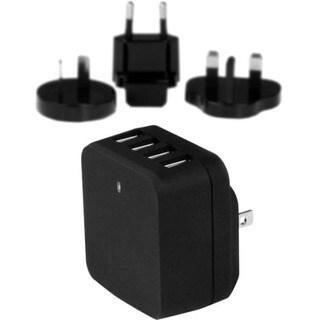 StarTech.com Travel USB Wall Charger - 4 Port - Black - Universal Tra
