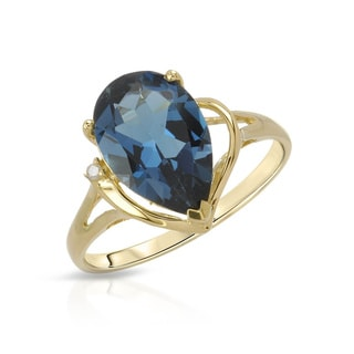 Fay Pay Jewels Yellow Gold 2.83-carat London Blue Topaz Accent Diamond Size 7 Ring