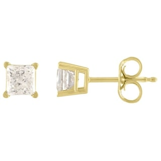 De Couer 14k Yellow Gold 1ct TDW Princess Cut Diamond Solitaire Stud Earrings (H-I, I2)