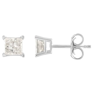 De Couer 14k White Gold 1ct TDW Princess Cut Diamond Solitaire Stud Earrings (H-I, I2)