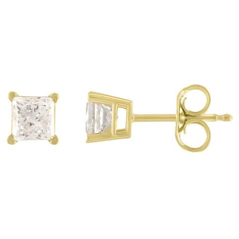 14K Diamond Stud Earring Yellow gold (3/4cttw H-I Color, I2 Clarity)