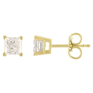De Couer 14k Yellow Gold 3/4ct TDW Princess Cut Diamond Solitaire Stud Earrings (H-I, I2)