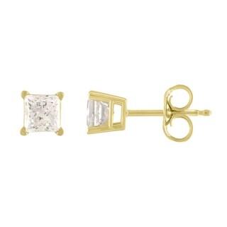 De Couer 14k Yellow Gold 1/2ct TDW Princess Cut Diamond Solitaire Stud Earrings (H-I, I2)
