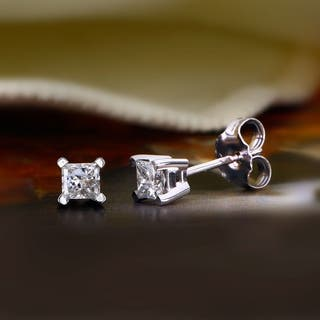 14K IGI Certified Stud Earring White gold (1/2cttw H-I Color, I2 Clarity) - White H-I
