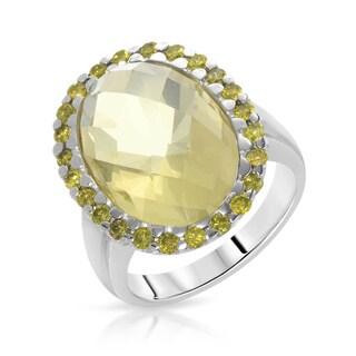 Fay Pay Jewels White Gold 11.83k Greenish Yellow Quartz Fancy Intense Yellow Enhanced Diamond Size 7 Ring