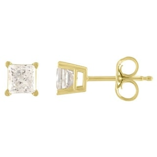 De Couer 14k Yellow Gold 2/5ct TDW Princess Cut Diamond Solitaire Stud Earrings