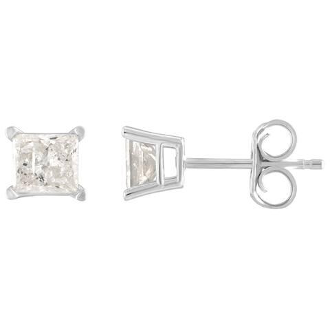 14K Diamond Stud Earring White gold (1/3cttw H-I Color, I2 Clarity) - White H-I