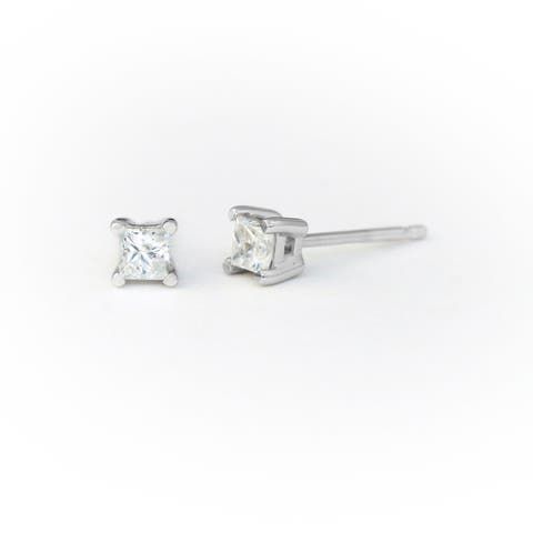 14K Stud Earring White gold (1/4cttw H-I Color, I2 Clarity) - White H-I