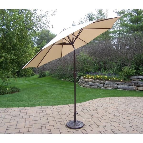 oakland living corporation beige 9-foot umbrella with crank, tilt 9 Ft Umbrella with Stand