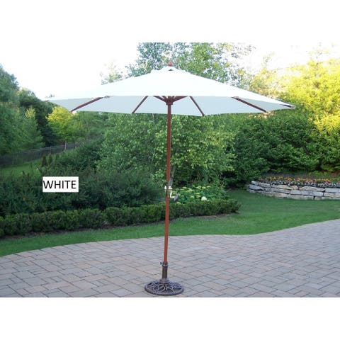 Oakland Living Corporation Wood and Polyester 9-foot Umbrella and Stand