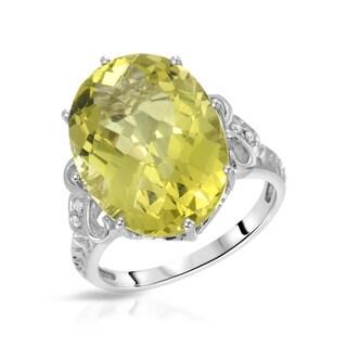 Fay Pay Jewels 14k White Gold 12.10-carat Yellowish Green Quartz G-H Diamond Size 7 Ring