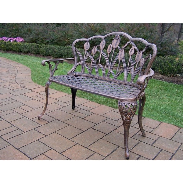 Oakland Living Corporation Antique Bronze Cast Aluminum Loveseat Bench