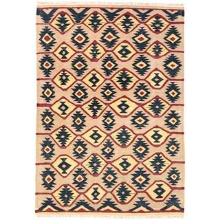 Herat Oriental Afghan Hand-woven Wool Mimana Kilim (3'5 x 5')