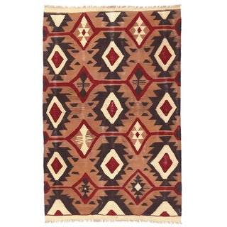 Herat Oriental Afghan Hand-woven Wool Mimana Kilim (2'10 x 4'7)