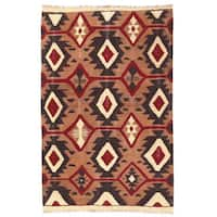 Herat Oriental Afghan Hand-woven Wool Mimana Kilim - 2'10 x 4'7