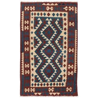 Herat Oriental Afghan Hand-woven Wool Mimana Kilim (2'11 x 4'10)