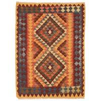 Handmade Herat Oriental Afghan Wool Mimana Kilim (Afghanistan) - 3' x 4'5