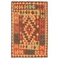 Handmade Herat Oriental Afghan Wool Mimana Kilim  - 3' x 4'8 (Afghanistan)