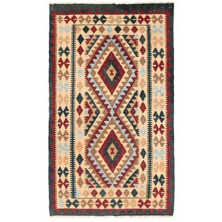 Herat Oriental Afghan Hand-woven Wool Mimana Kilim (3' x 5'1)