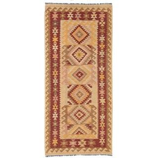 Herat Oriental Afghan Hand-woven Wool Mimana Kilim (3' x 6'7)