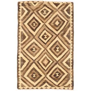 Herat Oriental Afghan Hand-woven Wool Mimana Kilim (3'1 x 4'11)