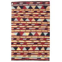Handmade Herat Oriental Afghan Wool Mimana Kilim (Afghanistan) - 3'1 x 4'9