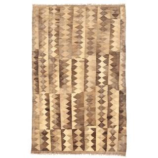 Herat Oriental Afghan Hand-woven Wool Mimana Kilim (3'2 x 4'10)