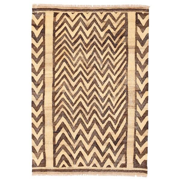 Herat Oriental Afghan Hand-woven Wool Mimana Kilim (3'2 x 4'7) - 3'2 x 4'7