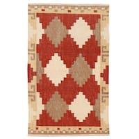 Herat Oriental Afghan Hand-woven Wool Mimana Kilim - 3'2 x 5'