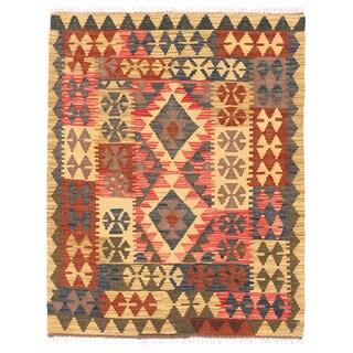 Herat Oriental Afghan Hand-woven Wool Mimana Kilim (3'3 x 3'11)