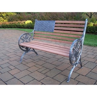 Oakland Living Corporation Proud American Wrought-iron/Wood Bench