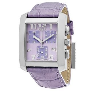 Fendi Women's F751133B 'Classico' Lavender Dial Lavender Leather Strap Chronograph Swiss Quartz Watch