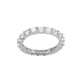 Luxiro Sterling Silver 3-mm Cubic Zirconia Eternity Ring