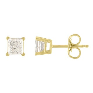 De Couer 10k Yellow Gold 1/6ct TDW Princess Cut Diamond Solitaire Stud Earrings (H-I, I2)