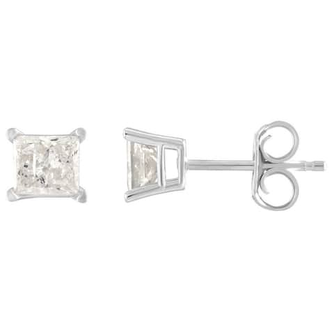 10K Diamond Stud Earring White gold (1/6cttw H-I Color, I2 Clarity)