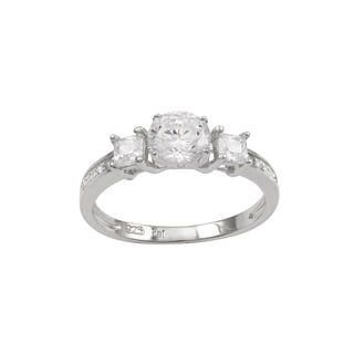 Luxiro Sterling Silver Cubic Zirconia 3-stone Engagement Ring