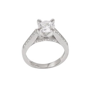 Luxiro Sterling Silver Cubic Zirconia Solitaire Engagement Ring